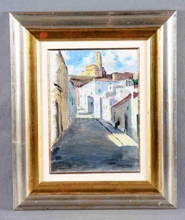 """SERRA FARNES, PEDRO (1890-1974). """"Calle de pueblo"""" Óleo sobr"""