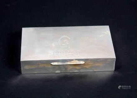 Caja en madera con exterior en plata de ley. Med.: 4x12x19 c