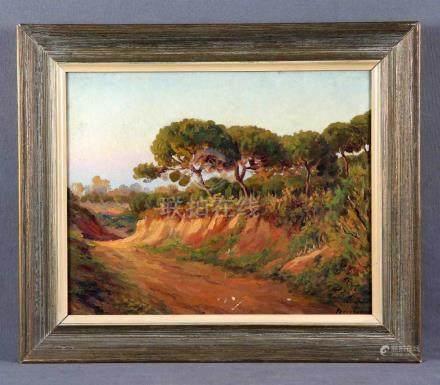"""GÓMEZ Y GÓMEZ, PEDRO (Huelva, 1888-1961). """"Paisaje"""". Óleo so"""