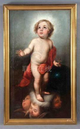 """ANÓNIMO, S.XVII. """"Salvador Niño"""". Óleo sobre lienzo, de 93,5"""