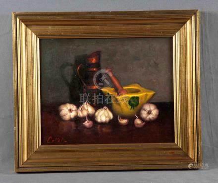"COLLADO (S.XX). ""Bodegón"". Óleo sobre lienzo, de 33x41 cm. F"