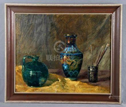 """PRIETO, F. (S.XX). """"Bodegón"""". Óleo sobre lienzo, de 54x65 cm"""