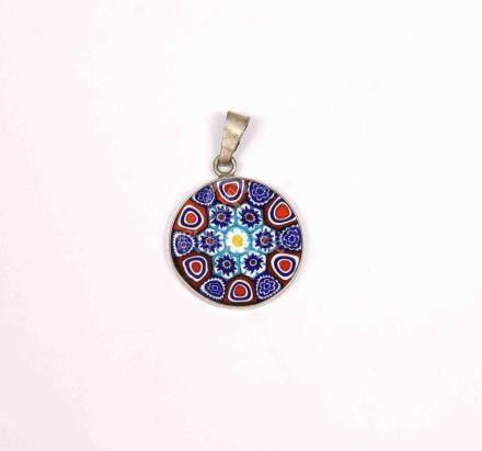 Colgante en cristal de Murano y plateado, con decoración de