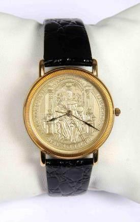 Reloj de maquinaria suiza, con esfera dorada, emisión conmem