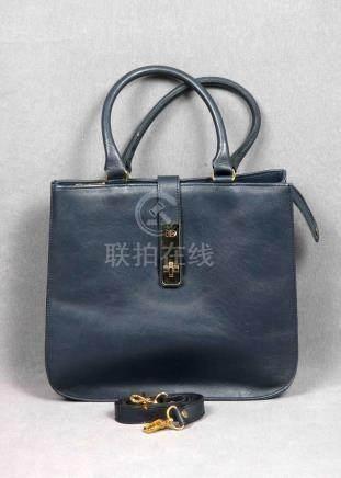 Bolso vintage de la firma EMPORIO BAGS, en piel de color azu
