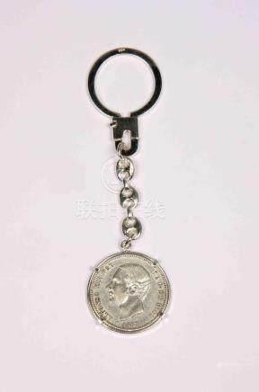 Llavero en plata con moneda de 2 pesetas de Alfonso XII, año
