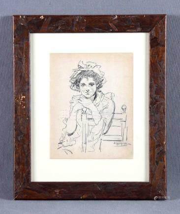 "EGUSQUIZA, ROGELIO (1845-1915). ""Dama"". Dibujo a lápiz, de 2"