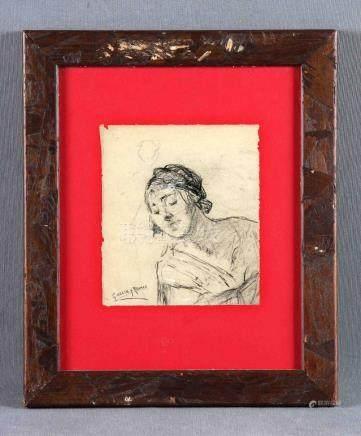 """GARCÍA Y RAMOS, JOSÉ (1852-1912). """"La sirvienta"""". Dibujo a c"""