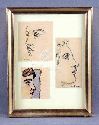 """GONZÁLEZ, ZACARÍAS (1923-2003). """"Rostros"""". Dos dibujos a car"""