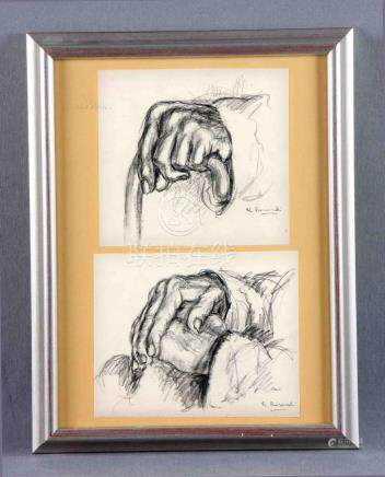 "ROMERO RESENDI, BALDOMERO (1924-1977). ""Manos"". Dos dibujos"