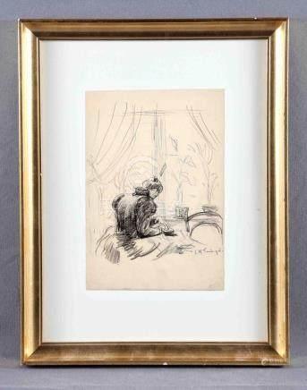 """TAMBURINI, JOSÉ Mª (1856-1932). """"La lectura"""". Dibujo a carbo"""