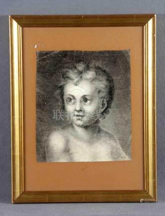 """ILEGIBLE, S.XVIII. """"Niño"""". Dibujo a carboncillo, de 26x23 cm"""