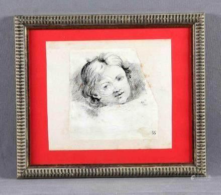 "A.K. (S. XVIII). ""Cara de niño"". Dibujo a carboncillo, de 18"