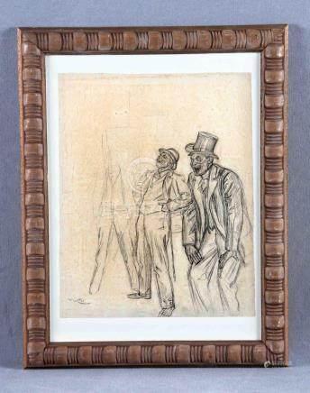 "DÍAZ HUERTAS, ÁNGEL (1866-1937). ""Personajes"". Dibujo a carb"