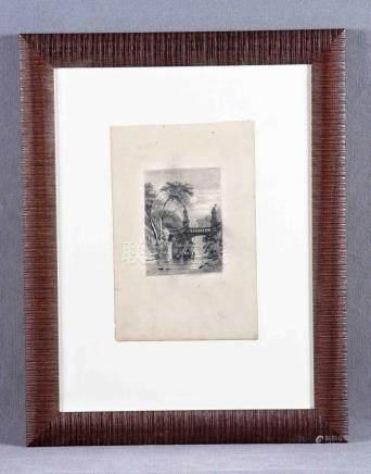 """PICOLO, MANUEL (1855-1912). """"El canal"""". Dibujo a lápiz, de 2"""