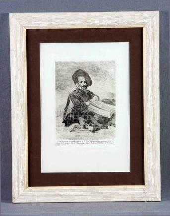 """GOYA, FRANCISCO DE (1746-1828). """"Enano"""". Grabado del cuadro"""