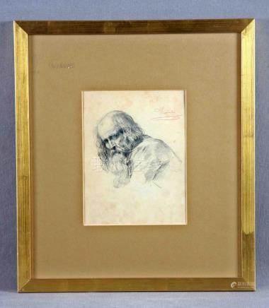 """ROSALES, EDUARDO (1836-1873). """"Anciano"""". Dibujo a lápiz, de"""
