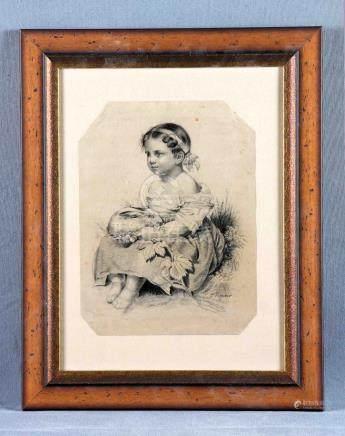 """PIZARRO, CECILIO (1825-1886). """"Niña y conejo"""". Dibujo a carb"""
