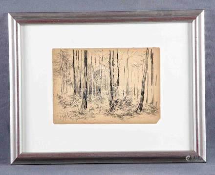 """ESPINA, JUAN (1848-1933). """"El bosque"""". Dibujo a carboncillo,"""