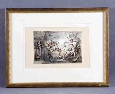 """ANÓNIMO (S.XVII). """"Escena clásica"""". Dibujo a tinta y acuarel"""