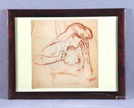 """GIMENO, FRANCISCO (1858-1927). """"Dama"""". Dibujo a lápiz sangui"""