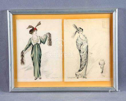 """ZAMORA, JOSÉ DE (1889-1971). """"Damas"""". Dos dibujos en un mism"""