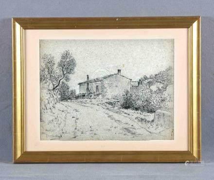 "URGELL, RICARDO (1874-1924). ""Casa rural"". Dibujo a carbonci"
