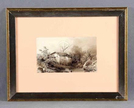 "DÍAZ, NARCISO (1807-1876). ""El caserío"". Dibujo a tinta sepi"