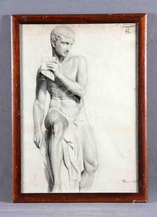 """FERRANT Y LLAUSAS, LUIS (1806-1868). """"Escultura"""". Dibujo a c"""