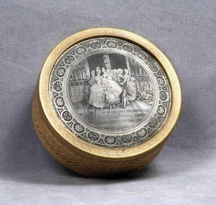 Caja francesa circular en bronce, Luis XVI, dorada al mercur