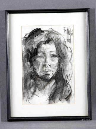 "FUENTETAJA (1951). ""Retrato de joven"". Dibujo a carboncillo,"