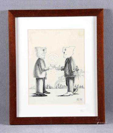 "RIC-RIC (S.XX). ""Saludo"". Dibujo a tinta, de 30x23 cm. Firma"