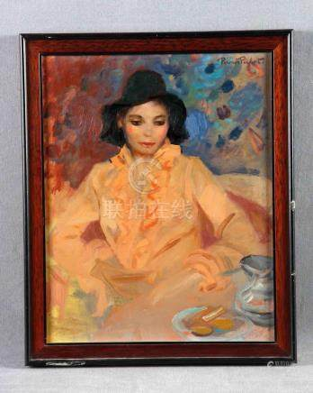 "PICHOT, RAMÓN (1925-1987). ""Retrato de dama"". Óleo sobre tab"