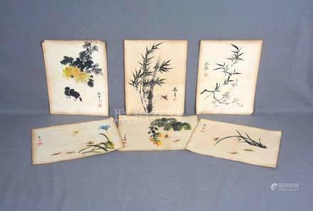 ESC. CHINA, S.XX. Lote formado por seis pinturas de diversos