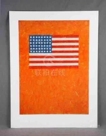 """JOHNS, JASPER (1930-2017). """"Flag on orange field"""". Impresión"""