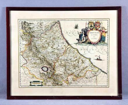 """BLAEU, WILLEM (1571-1638). """"Abruzzo citra et ultra"""". Grabado"""