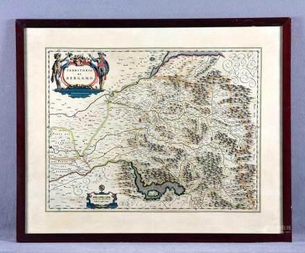 """BLAEU, WILLEM (1571-1638). """"Territorio di Bergamo"""". Grabado"""