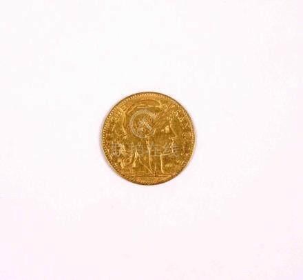 Moneda francesa en oro de 10 francos, año 1900. MBC.
