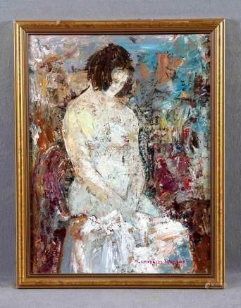 "GONZÁLEZ SANTANA, MANUEL (1904-1994). ""Desnudo femenino"". Ól"
