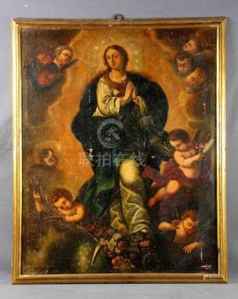 "ANÓNIMO, S.XVIII-XIX. ""Inmaculada"". Óleo sobre lienzo, de 10"