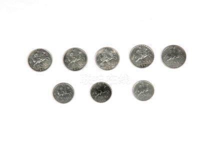 Lote formado por ocho monedas españolas en aluminio, flor de