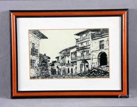 """HEVIA, SEGUNDO (1919-2018). """"Camino de Santiago"""". Dibujo a t"""