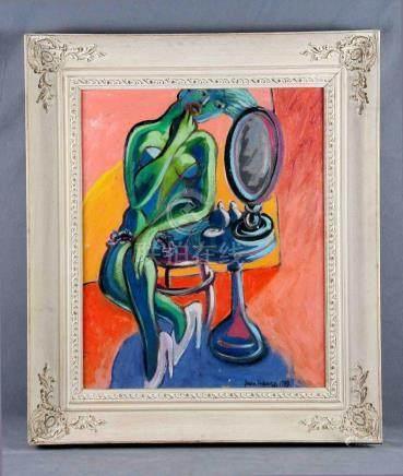 """ANDUEZA, JUANA (1949). """"Me pinto cada noche"""". Óleo sobre lie"""