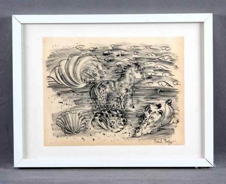 "DUFY, RAOUL (1877-1953). ""Caballo en la playa"". Litografía,"
