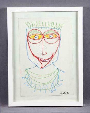 "ALCOLEA, CARLOS (1949-1992). ""Rostro"". Dibujo a ceras sobre"