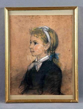 """MADRAZO, FEDERICO DE (1815-1894). """"Retrato de niña"""". Dibujo"""