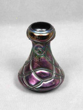 Jarrón Pallme Konig en cristal iridiscente de Bohemia, Art N