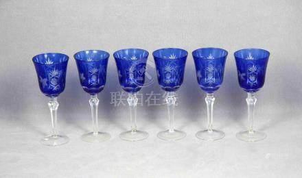 Juego de 6 copas en cristal de Bohemia tallado, en color azu