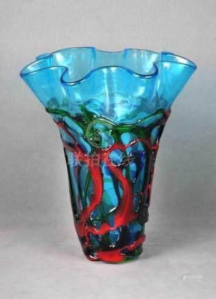 Gran jarrón en cristal de Murano, translúcido y con decoraci