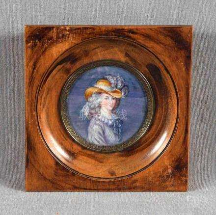 Miniatura sobre placa de marfil representando joven dama. Fi